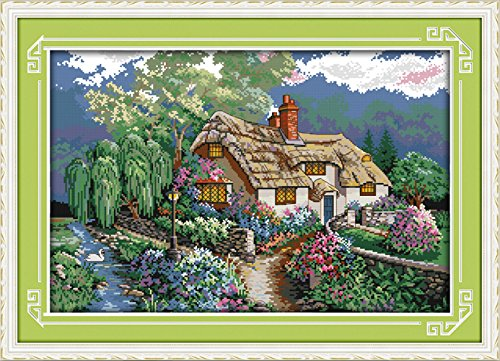 - YEESAM ART New Cross Stitch Kits Advanced Patterns for Beginners Kids Adults - Sunset 11 CT Stamped 69×48 cm - DIY Needlework Wedding Christmas Gifts