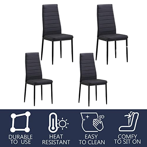 Dining Chairs PU Leather with Solid Metal Legs Kitchen High Side Chair for Restaurant Living Room Armless Durable Padded Cushion Seat Modern Style