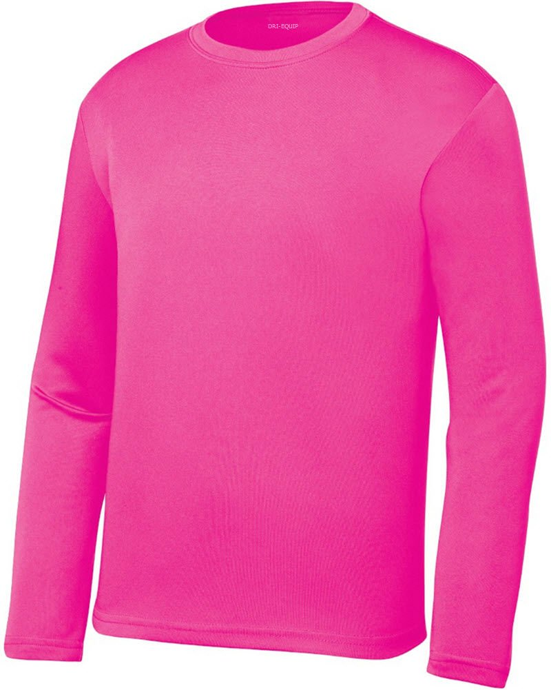 0252781c9c6b Galleon - DRI-EQUIP Youth Long Sleeve Moisture Wicking Athletic Shirts ,L-NeonPink