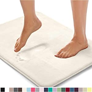 Gorilla Grip Original Thick Memory Foam Bath Rug, 48x24, Cushioned, Soft Floor Mats, Absorbent Premium's Bathroom Mat Rugs, Machine Wash and Dry, Luxury Plush Comfortable Carpet for Bath Room, Cream