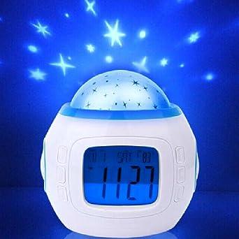 Romántico proyector de estrellas/Mini Reloj despertador con luz de ...