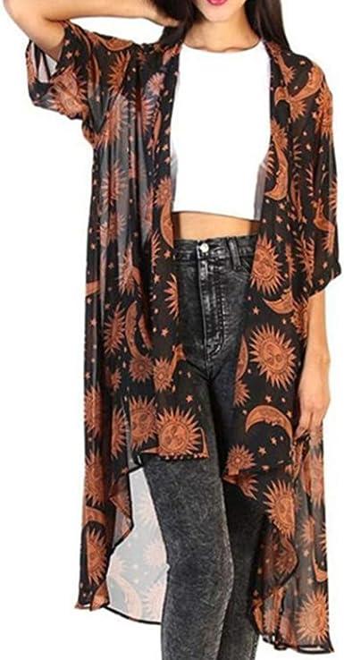 SHOBDW Mujer Liquidación de la Venta Moda para Estampado Floral Gasa Suelta Talla Grande Chaleco Kimono Rebeca Camisa Blusa Novedad Estampado Invierno Camisetas de Manga Larga: Amazon.es: Ropa y accesorios