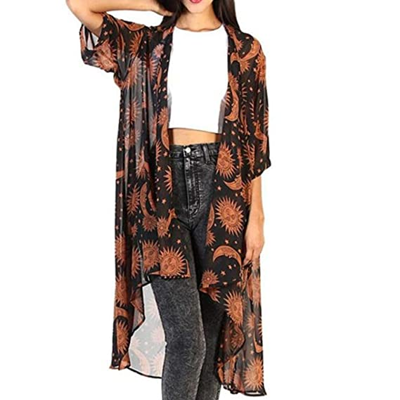 SHOBDW Mujer Liquidación de la Venta Moda para Estampado Floral Gasa Suelta Talla Grande Chaleco Kimono Rebeca Camisa Blusa Novedad Estampado Invierno ...