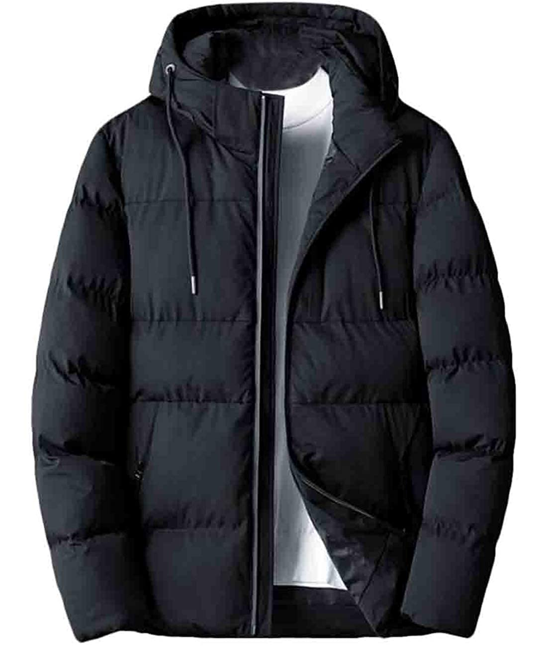 Hilization Mens Hooded Solid Winter Thicken Stylish Cotton Drawstring Puffer Jacket