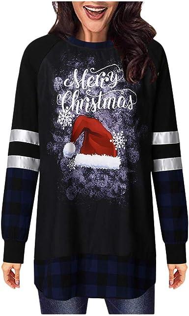 Fossen MuRope Sudadera Navidad Mujer Camisa Invierno - Jersey Suéter de Navidad para Mujer Impresión de Alces - Vestido Hoodies Largas Chica Larga: Amazon.es: Ropa y accesorios