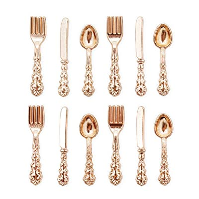 Odoria 1:12 Miniature 12Pcs Coppery Knife Fork Spoon Cutlery Set Dollhouse Kitchen Accessories: Toys & Games