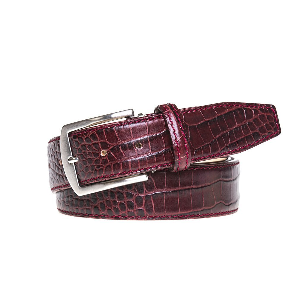 Wine Italian Mock Croc Leather Belt