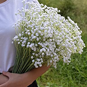 Meiliy 10pcs Gypsophila Artificial Flowers Plastic Baby Breath Fake Flowers for Home Wedding Office Party Decoration, 23.6'' 1