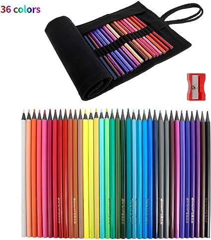 fanshiontide 36 Piezas Lápices de Dibujo, Lapices de Colores para dibujo profesional Set, Incluye sacapuntas y Roll Up Canvas Caso Para Adultos y Niños: Amazon.es: Oficina y papelería