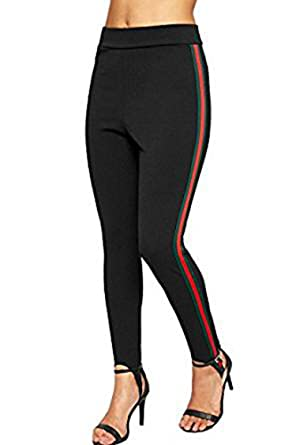 e69cdddae8d ClassyTrendz Womens Red and Green Side Stripe Ski Foot Leggings Sports Pants  at Amazon Women s Clothing store