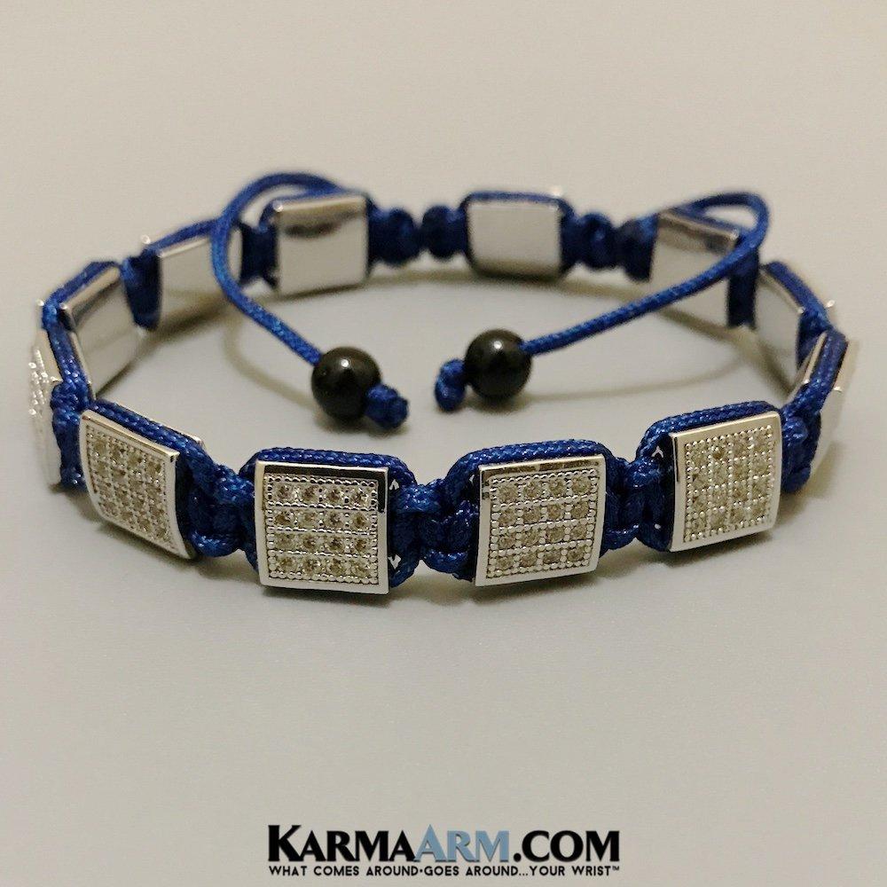 "8/"" KarmaArm Flat Bead Bracelets CZ Diamond Pave Navy Blue Cord Adjustable Reiki Healing Yoga Chakra Meditation Boho Jewelry Fits 7"