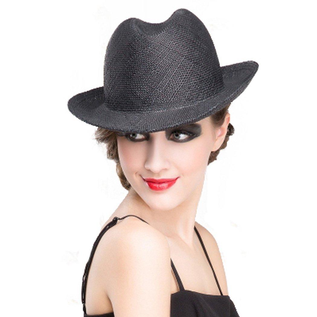 Dovaly Vintage Jazz Hat Women Black Blue Unisex Fedora Summer Short Brim Straw Hats