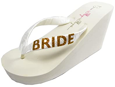 Amazon.com | Bridal Flip Flops Bride Bling Glitter Wedge Wedding ...