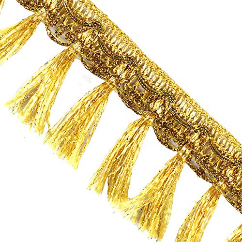 EMDOMO 10yards Gold Curtain Clothes Bags Accessories Tassel Fringe Trim DIY Sewing Apparel Supplies T2791