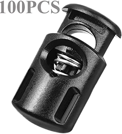 More 20Pcs Plastic Cord Lock End Toggle Double Hole Spring Stopper Fastener Slider Toggles End for Drawstrings Clothing