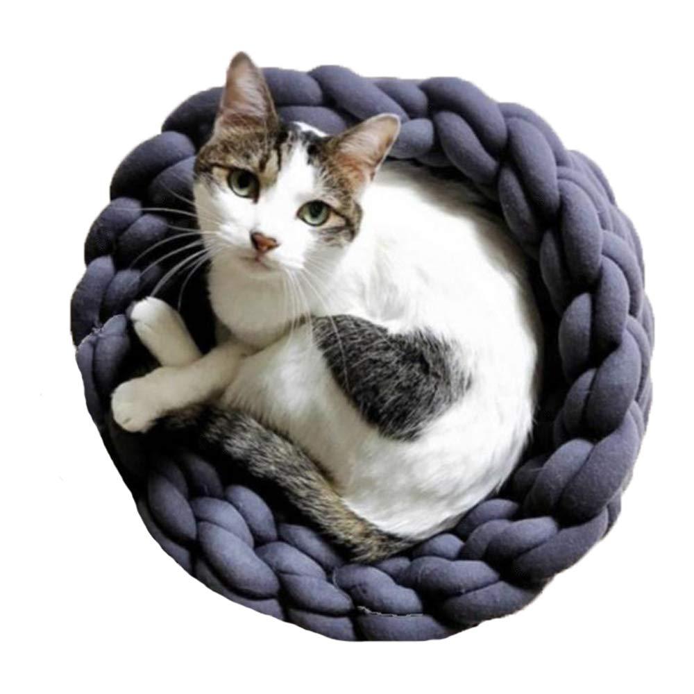 Dark Grey 16\ Dark Grey 16\ 16  Cat Bedding Braid Cotton Tube Yarn Cat Cave Hand Knit Pet Bedding Chunky Knit Dark Grey Kitty Puppy House