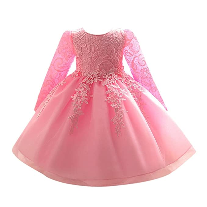 Toddler Baby Girl Kid Long Sleeve Princess Tutu Dress Party Wedding Pageant Gown