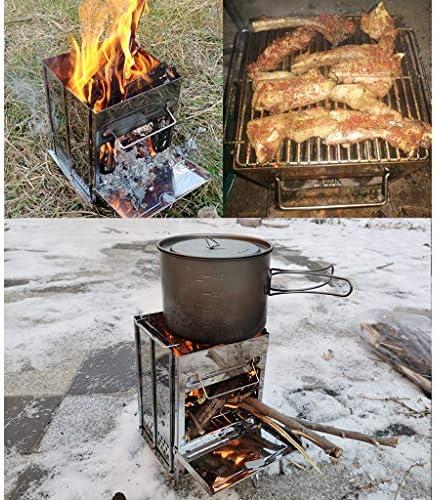 LHY DECORATION Pliable Barbecue Grill Grand en Acier Inoxydable Portable Barbecue Four Ensemble Barbecue Grill Charbon De Bois pour Camping pour 3-5 Personnes