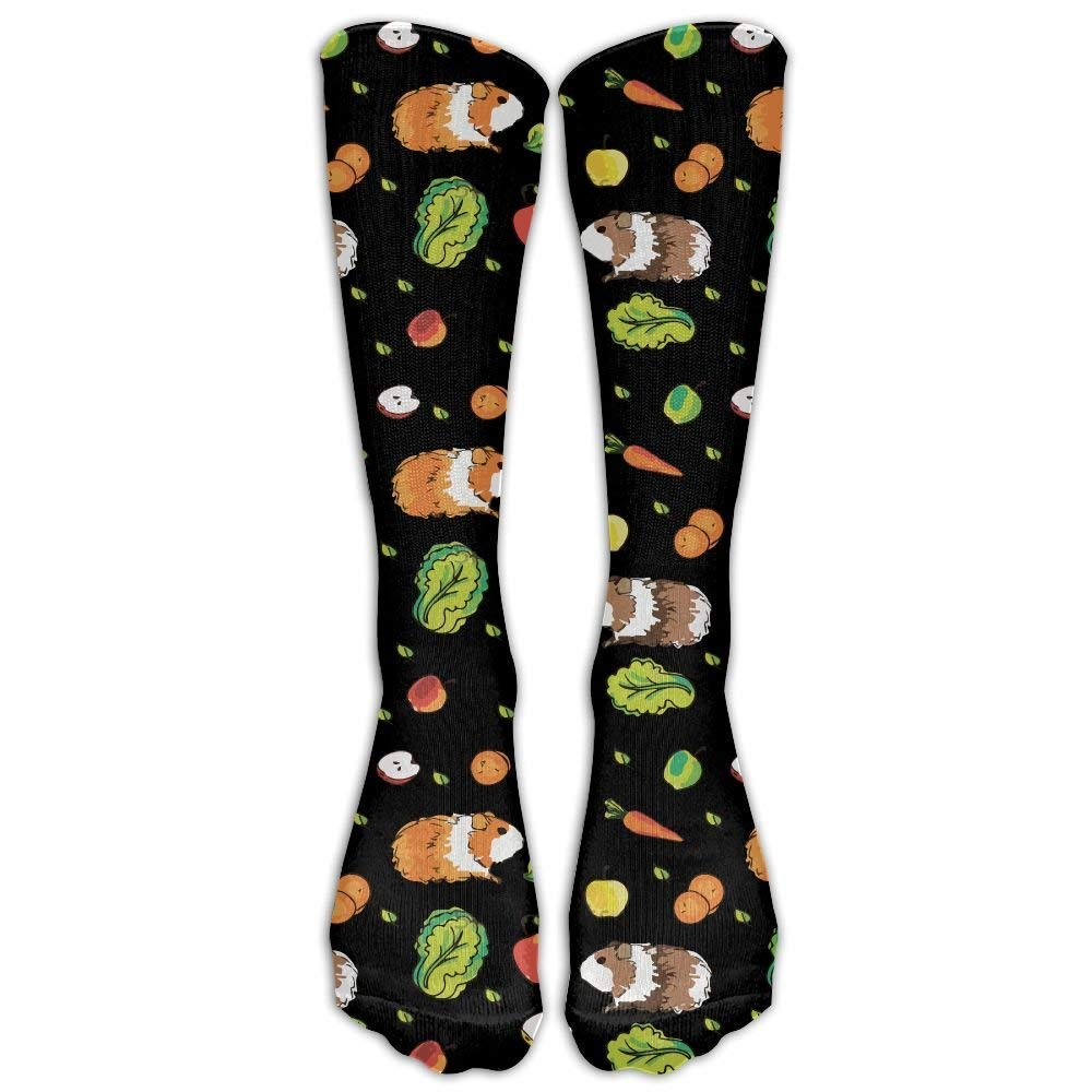 Cute Guinea Pig And Carrots Casual Unisex Sock Knee Long High Socks Sport Athletic Crew Socks One Size