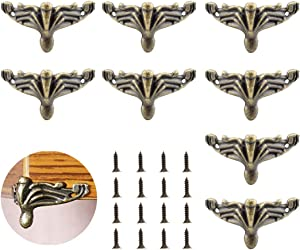 SDTC Tech 8 Pack Retro Design Jewelry Box Feet Antique Bronze Zinc Alloy Decorative Legs with Mounting Screws Corner Protector Brackets for Wooden Storage Box Cabinet Decoration Furniture