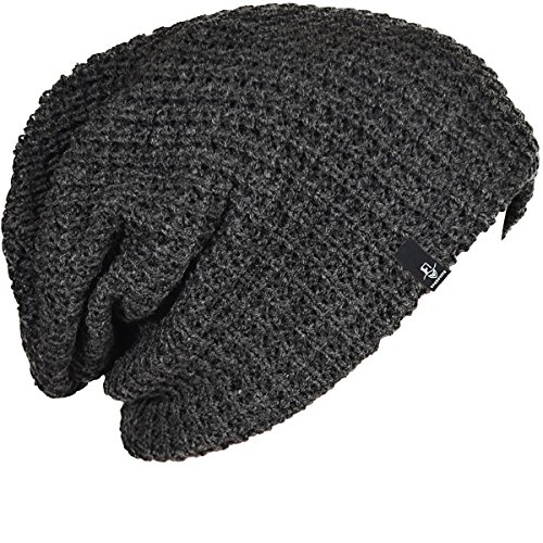 FORBUSITE Mens Slouchy Long Oversized Beanie Knit Cap For Summer Winter B08  (Dark Gray) b4337afed89