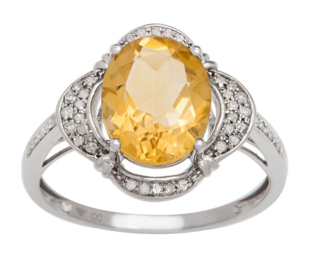 10k Rhodium-Plated White Gold 2.0ct Oval Citrine and Halo Diamond Ring (1/7 cttw) by Instagems