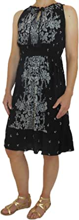 Bila Womens Sleeveless Rayon Maxi Dress w/Keyhole Tie Neck