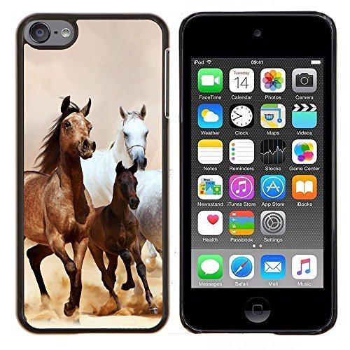 Jordan Colourful Shop - Horses Galloping Mustang Brown Fur For Apple iPod Touch 6 6th Generation Custom black plastic Case Cover - Horse Colourful
