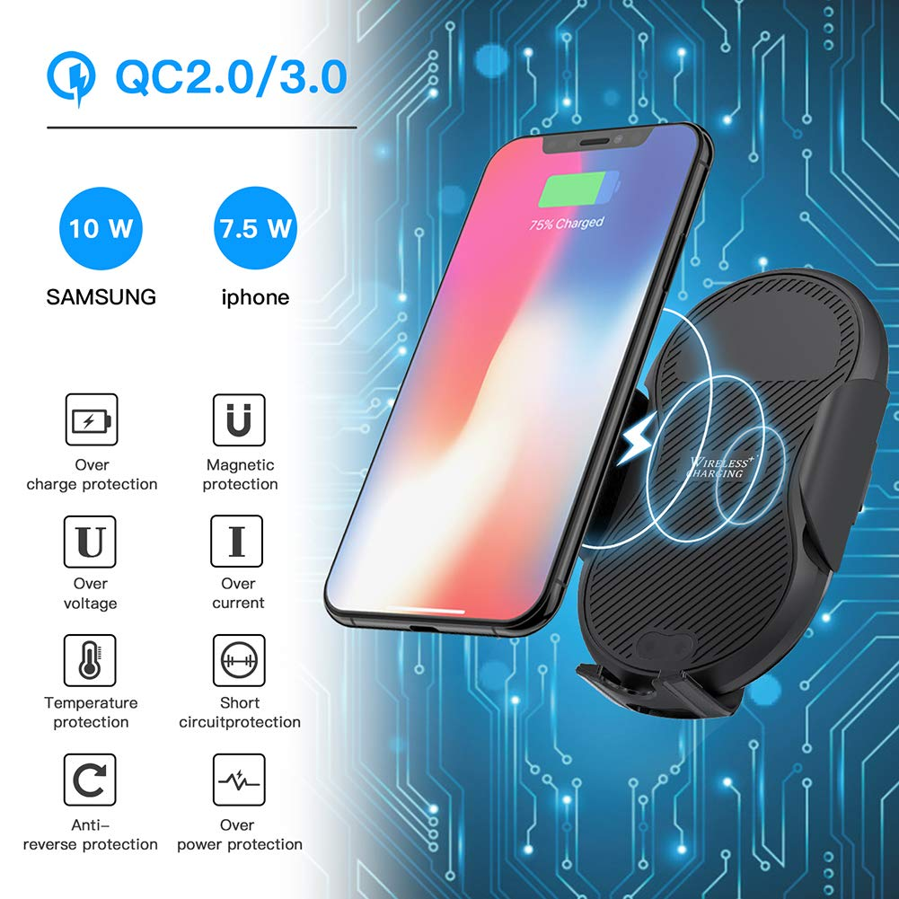 Megwoz Wireless Car Charger Mount Dashboard Air Vent Phone Holder Mount Samsung Note 9//8//7 S9//8//7 /& Qi Enabled Devices Compatible iPhone Xs//Xs Max//XR//X//8//8+ Auto-Clamping 7.5W//10W Fast Charging