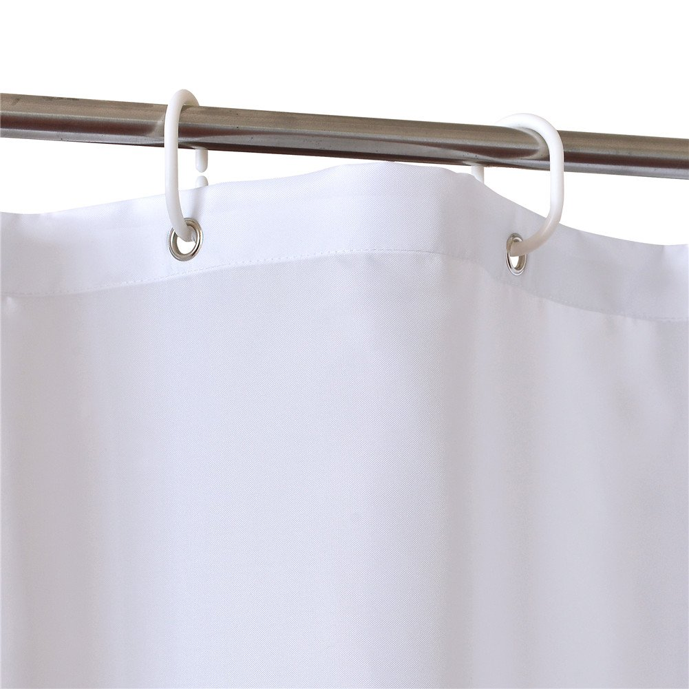 LanMeng Extra Long Fabric Shower Curtain Elegance Luxury Blue White 72 x 78 in