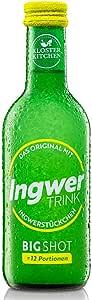 Jengibre para beber: alimentos orgánicos y veganos con jengibre vitales 250ml en botella de vidrio. Tomar cada día un chupito (2cl)
