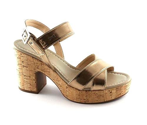 NERO GIARDINI 17670 laminato oro sandali donna tacco sughero fibbia