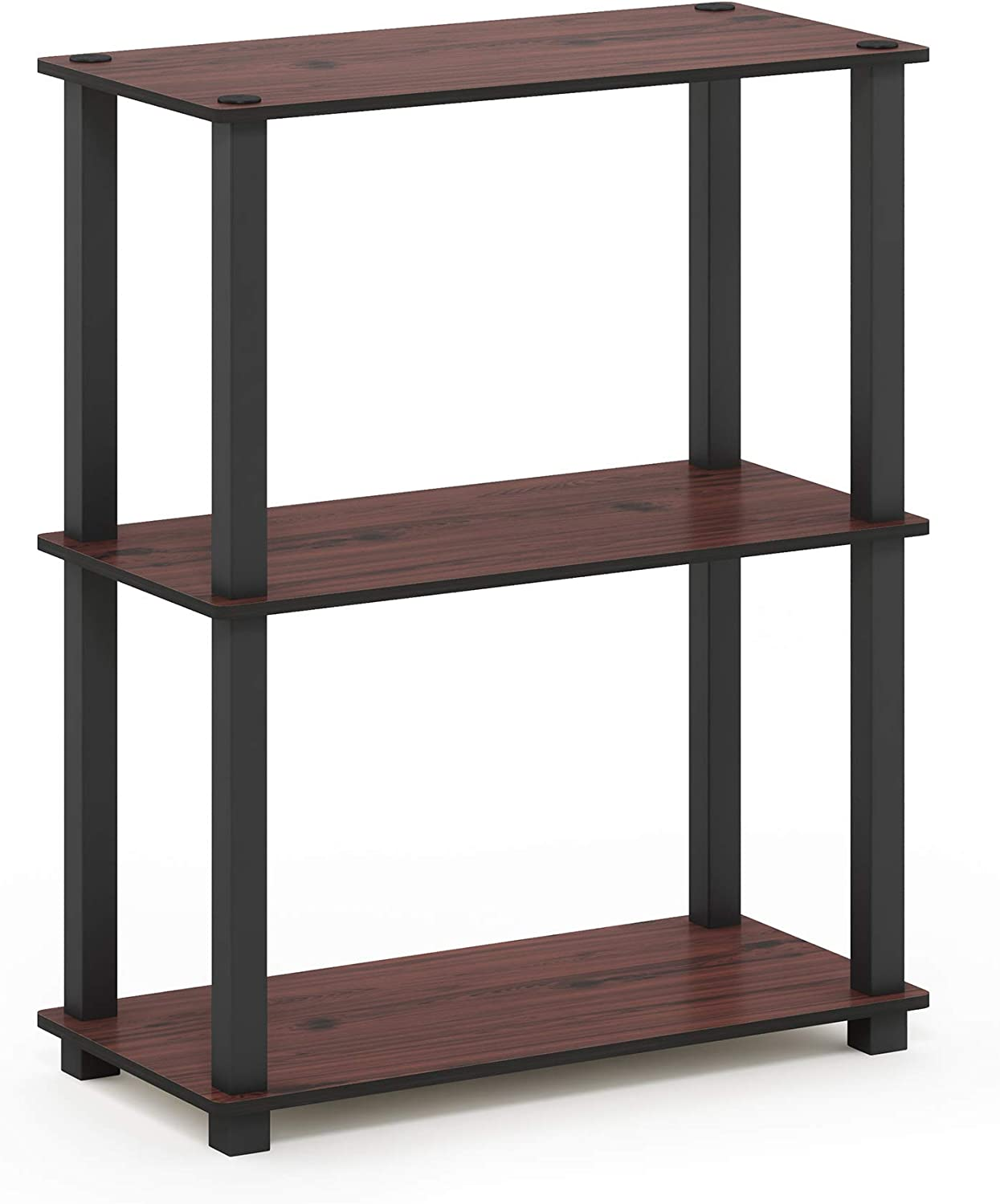 Furinno Turn-S-Tube 3-Tier Compact Multipurpose Shelf Display Rack, Square, Dark Cherry/Black