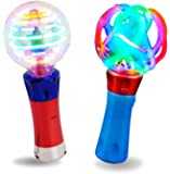 Spinning Light Up Toys - Set of 2 Spinner Wand Sensory Toys For Kids - Magic Ball Spinning Light Wand and Spinning LED…