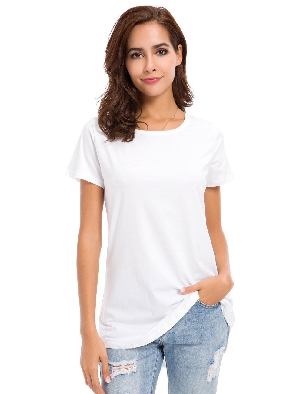 MSHING Women's Short Sleeve Tunic Tops Loose Casual T-Shirt Blouse