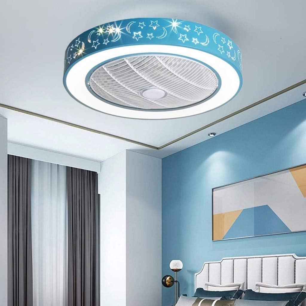 Ganeep Dormitorio Luz de Techo for niños LED Ventilador Lámpara de Techo Regulable Creativo Invisible Silencioso Ventiladores de Techo Moderna Sala de Estar Control Remoto Ventilador Luz de Techo