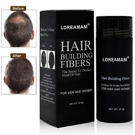 Hair Building Fibers,Hair Loss Concealer,Fibre Construcción de pelo Fibras de Cabello Naturales,Cabello fino y Escaso para Hombres y Mujeres-Efecto ...