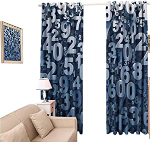 oobon Decorative Blackout Curtains, Mathematics Classroom Abstract 3D Style Random Number Digits Symbols Algebra Signs, Curtain Panels for Living Room, 96x84 inch