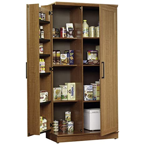 Amazon.com: Kitchen Pantry Cabinet Free Standing Oak Wooden ...