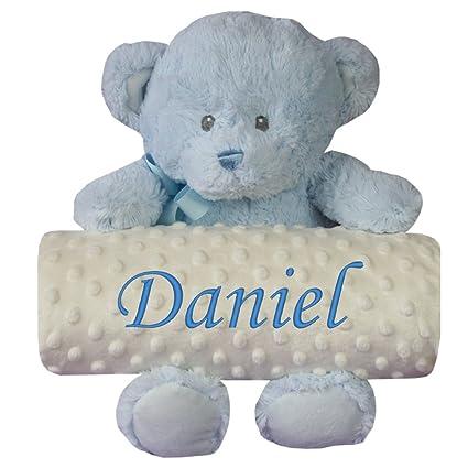 Manta bebé personalizada para coche y minicuna +peluche Osito Azul