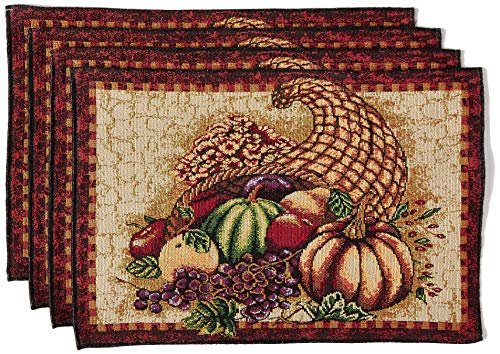 HomeCrate Fall Harvest Collection, Tapestry Cornucopia with Pumpkins and Fruits Design Set of 4 Placemats, 13 x 19