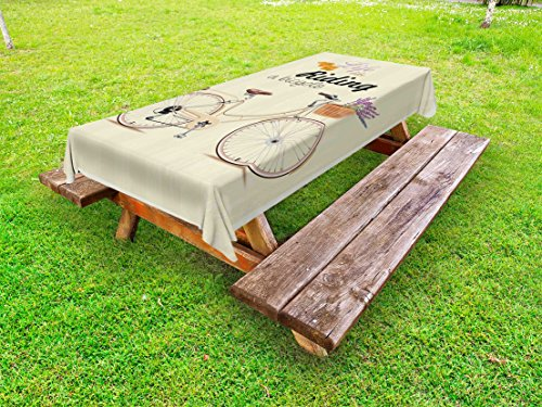 Lunarable Bicycle Outdoor Tablecloth, Boho Pop Art Antique Bike Illustration with an Aesthetic Lavender Bouquet Basket, Decorative Washable Picnic Table Cloth, 58 X 84 inches, Beige Lilac by Lunarable