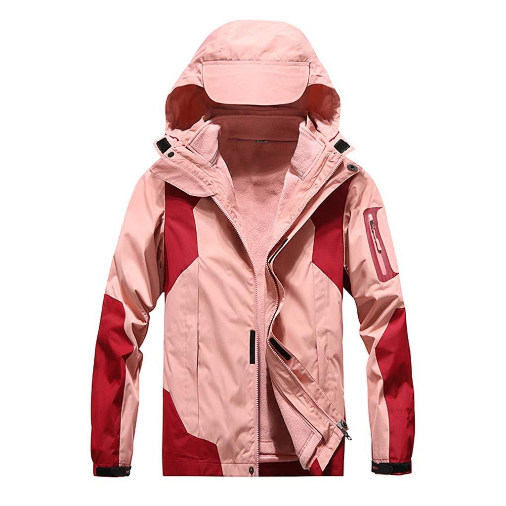IEason Women Winter Coat Outdoor Waterproof Softshell Rain Jacket Detachable Breathable Sport Outdoor Coat Pink by IEason Women Coat