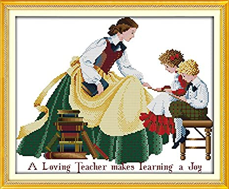 Mother and Daughter Stamped Cross Stitch Kits The Pray Angel 14Count 40cmx34cm DIY Needle Work for Home Decor