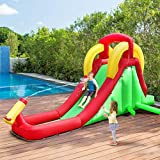 Zazza95shop Kids Toys Children Boys Girls Play New Inflatable Heavy Duty Large Puncture Proof 420D Oxford Durable Moonwalk Water Slide Bounce House Bouncer Jumper Climbing Easy Quick Blow Up