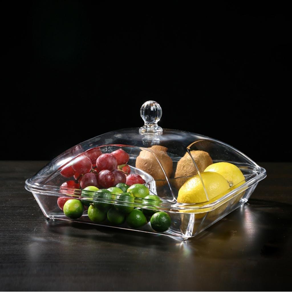xiaowu Obstteller Moderne kreative Wohnzimmer Trockenobst Platte Sub-Grid mit S/ü/ßigkeiten durchsichtig Kunststoff-Glas bedeckt