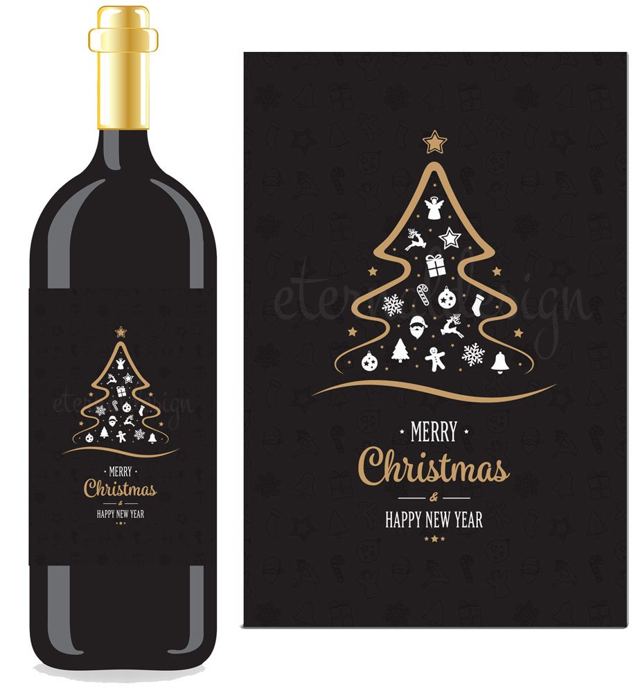 Eternal Design Merry Christmas Wine Style Bottle Label/Sticker NPXDWL10