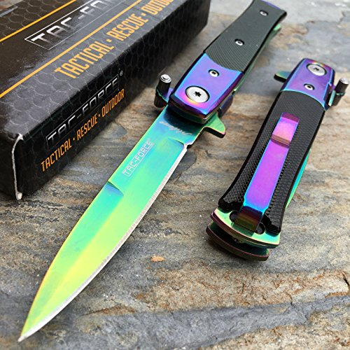 Only US TAC-FORCE Spring Assisted Small Milanos Style Rainbow Blade Knife