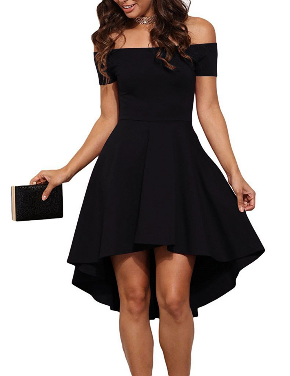 Sarin Mathews Women Off The Shoulder Short Sleeve High Low Cocktail Skater Dress Black L