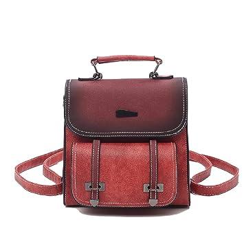 HhGold Mochila Casual para Mujer Mochilas Multiusos para Chica de Viaje para Salir Cuero Rojo (Color : Rojo): Amazon.es: Hogar